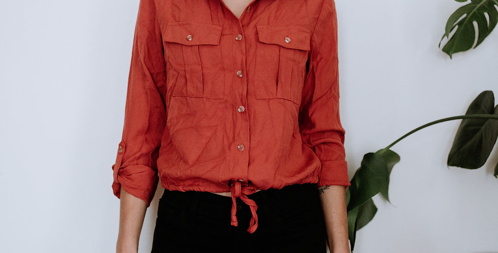 Coral Button Tie Front Top