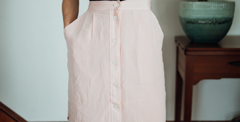 Pink Button Front Skirt