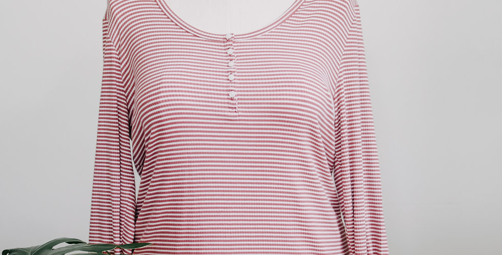 Pink+ White Stripe Ribbed Henley