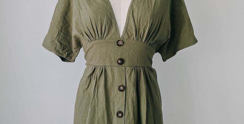 Green Button Front Dress