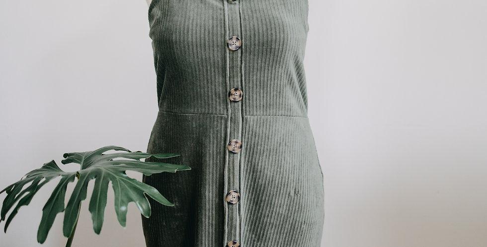 Green Corduroy Button Front Dress