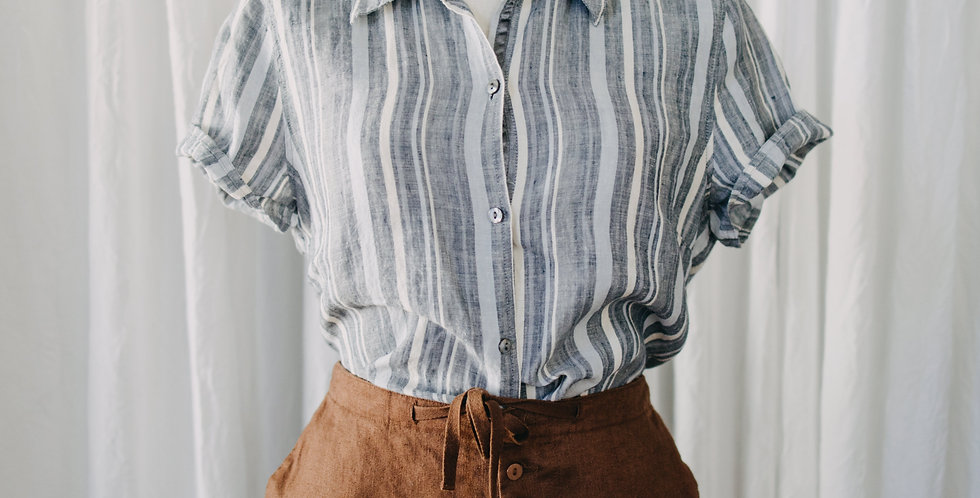 Linen Blue Stripe Top