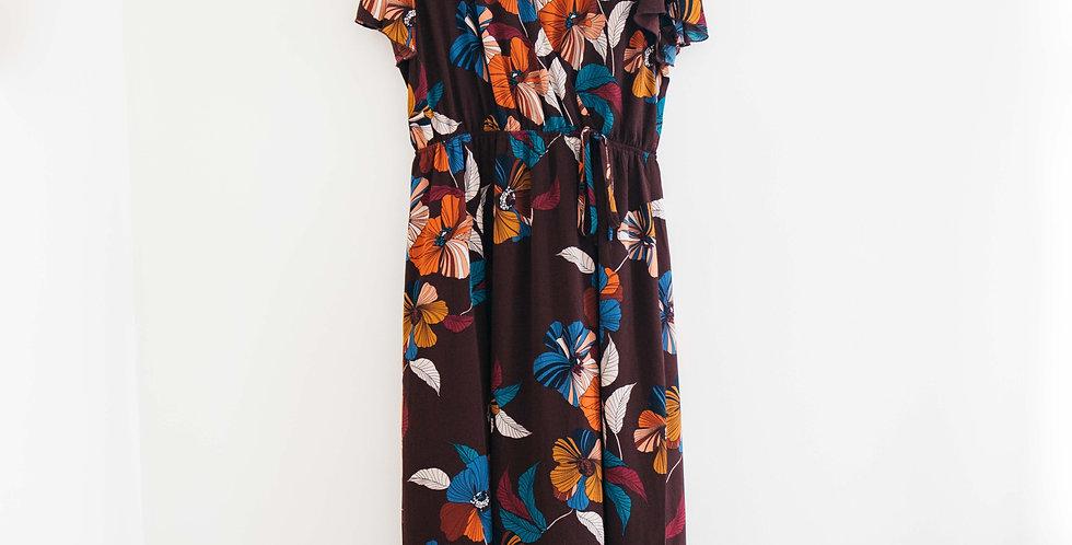 Burgundy Floral Wrap Style Dress