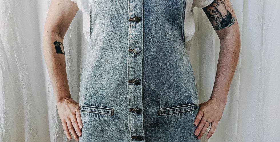 Light Wash Denim Overall Dress