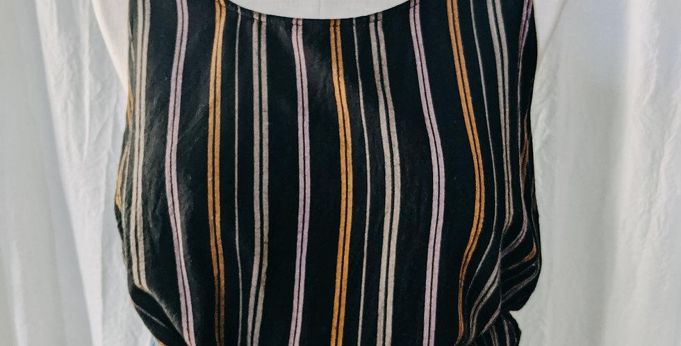 Black Stripe Button Back Tank
