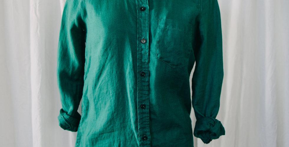 Teal Linen Button Up