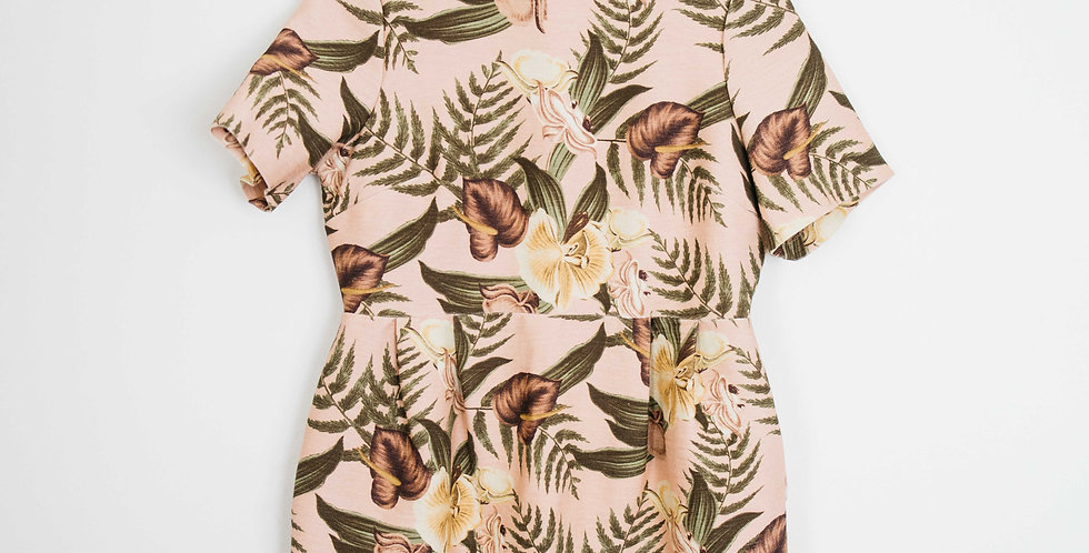 Pink Tropical Open Back Dress