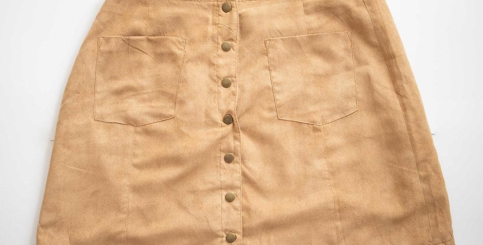 Wild Blue / Tan Button Front Skirt