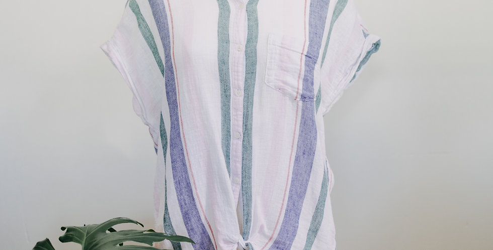 Stripe Linen Blend Tie Top