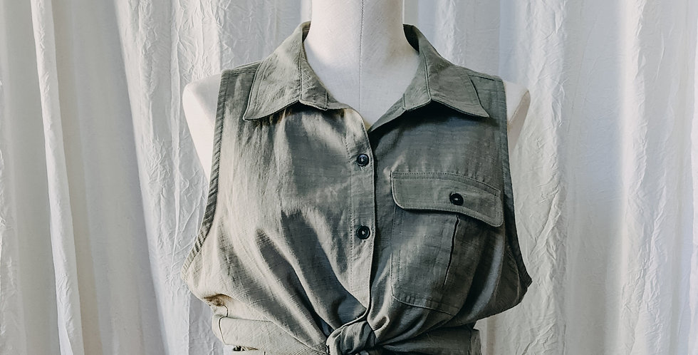 Green Button Front Tank