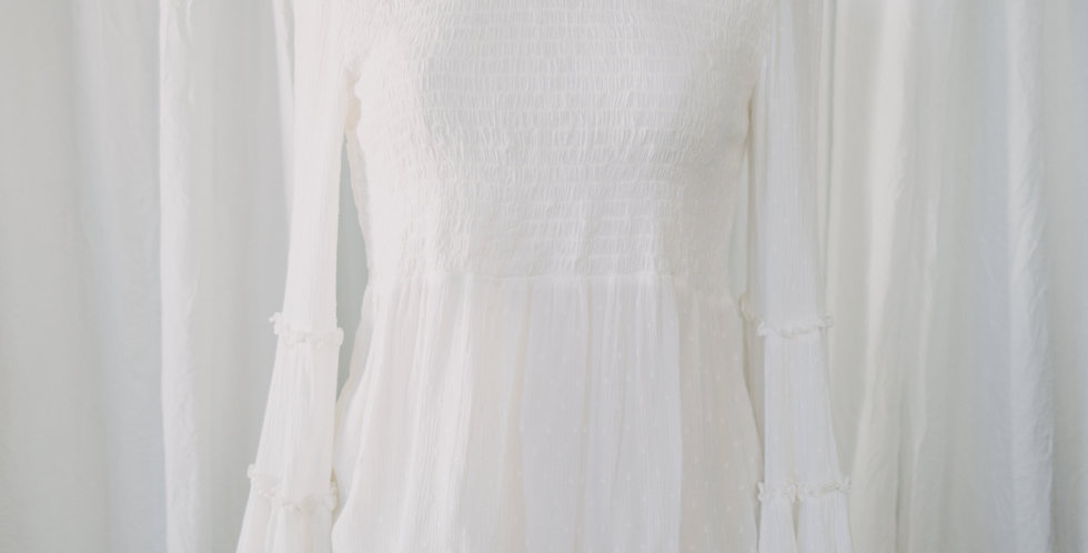 White Smocked Bell Sleeve Top