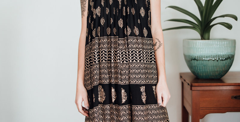 Gold + Black Medallion Dress