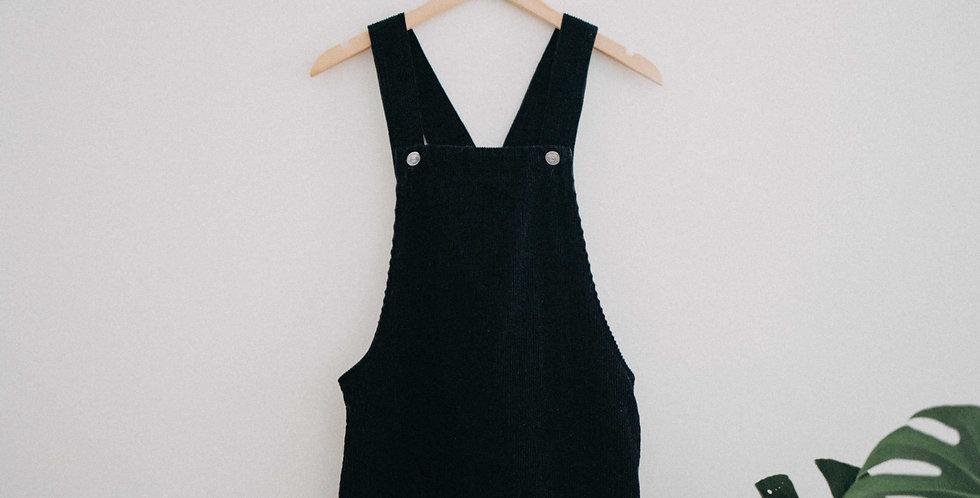 Black Cord Overall Dress