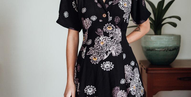 Floral Collared Mini Dress