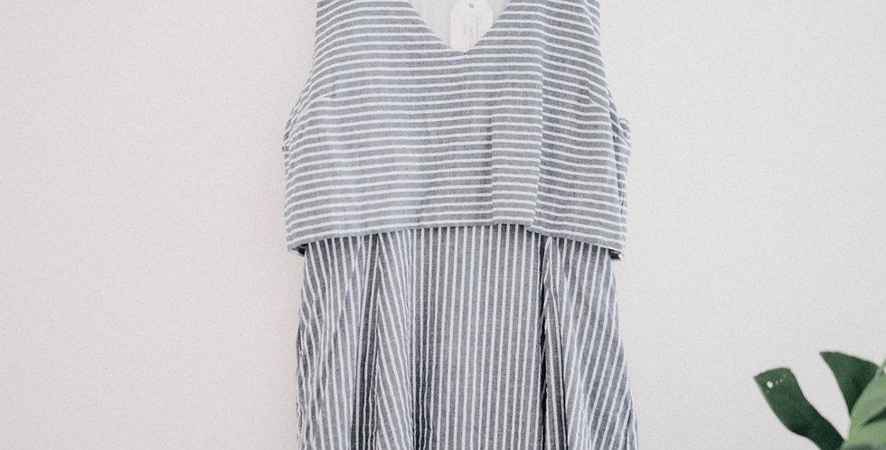 Anthropologie / Pin Stripe Tiered Dress
