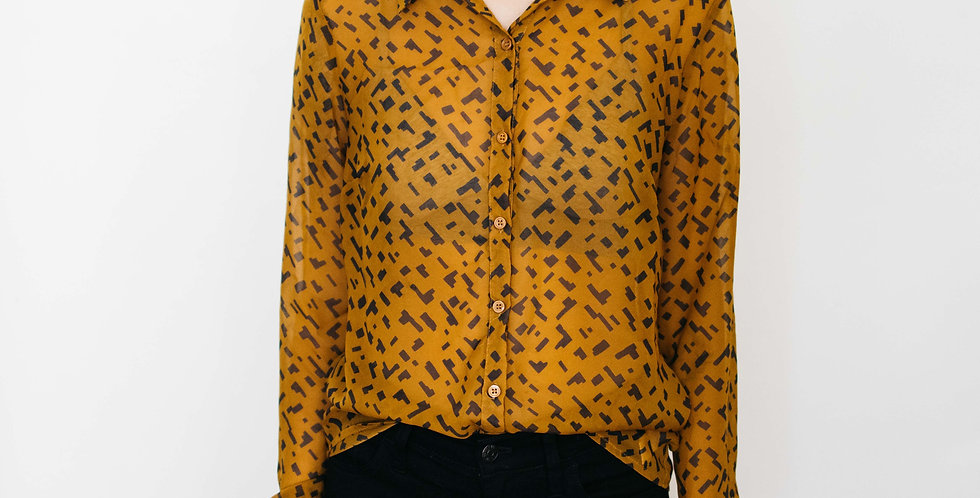 Yellow Shapes Pattern Button Up