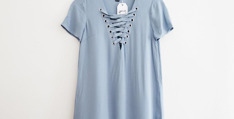 Blue Lace Up Shift Dress