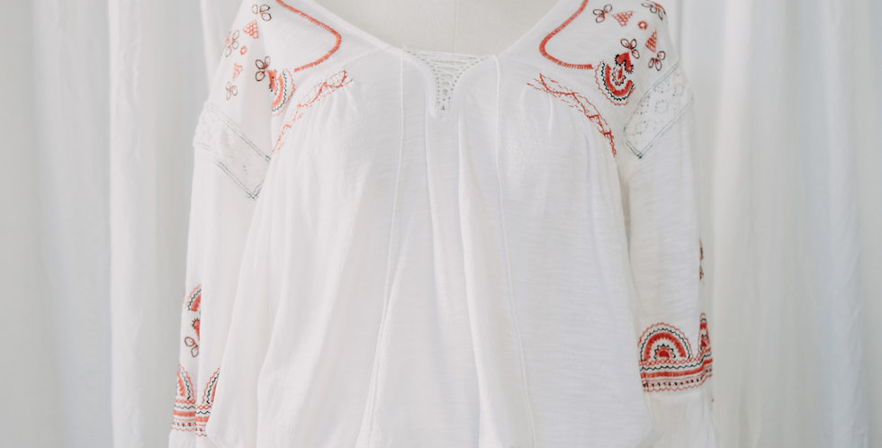 White + Red Peasant Top