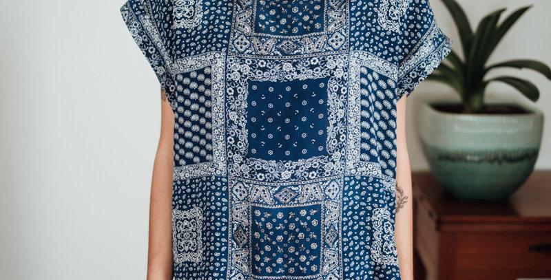Blue Bandana Print Silk Top