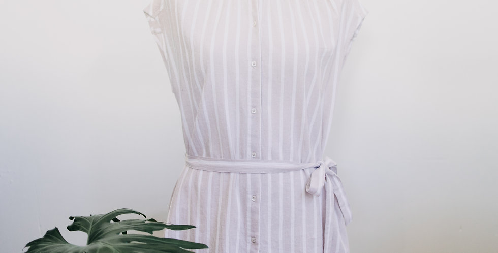 Cream + White Stripe Tie Tank