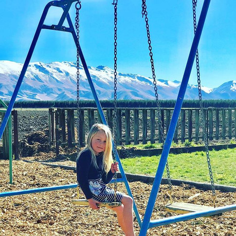 Swinging with a view!! 🏔 we are all set