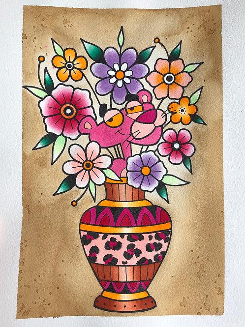 Pink Panther Vase Print