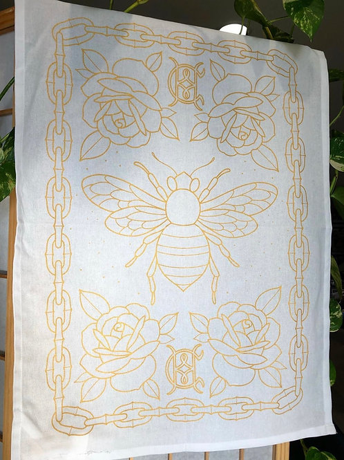 Hot Copper Bee Tea Towel