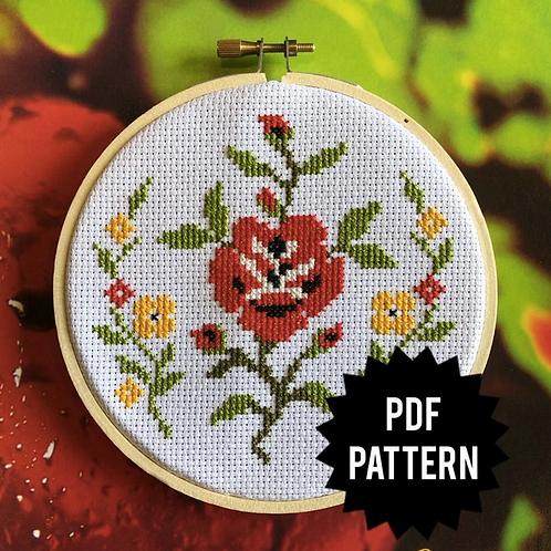 Traditional Rose Cross Stitch PDF Pattern