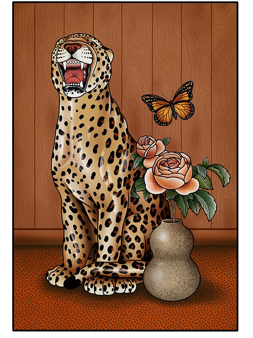 Still Life with Leopard and Butterfly Print