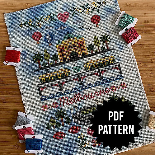 Melbourne Cross Stitch Sampler PDF Pattern