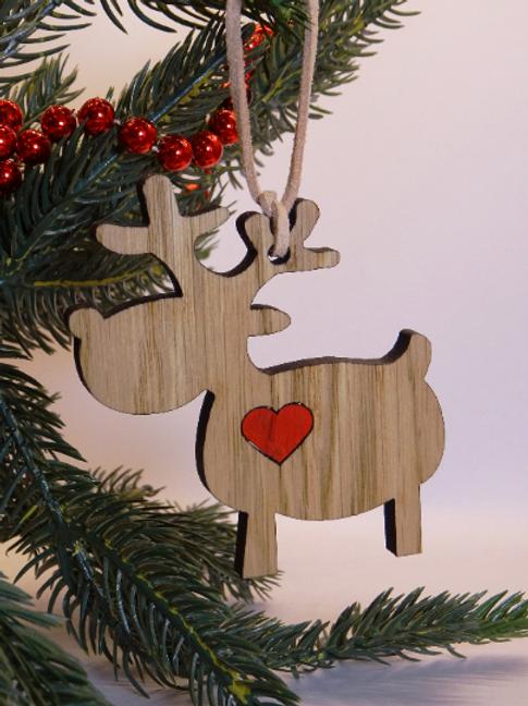 Rudolph & heart reindeer Christmas decorations