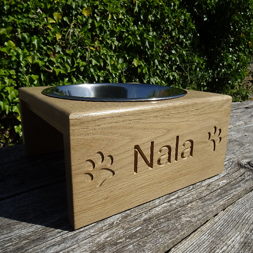Personalised Raised Single Bowl Dog Feeder/Water Bowl
