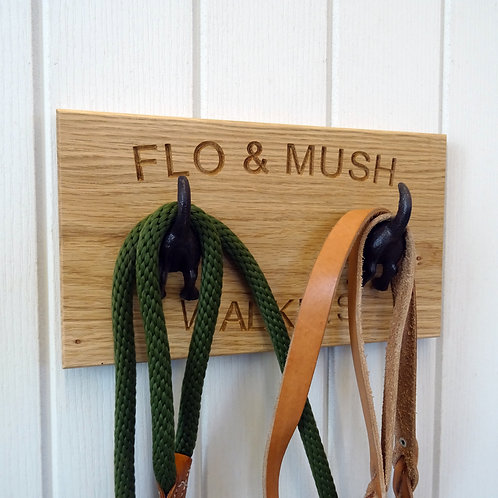Double solid oak dog leash hook