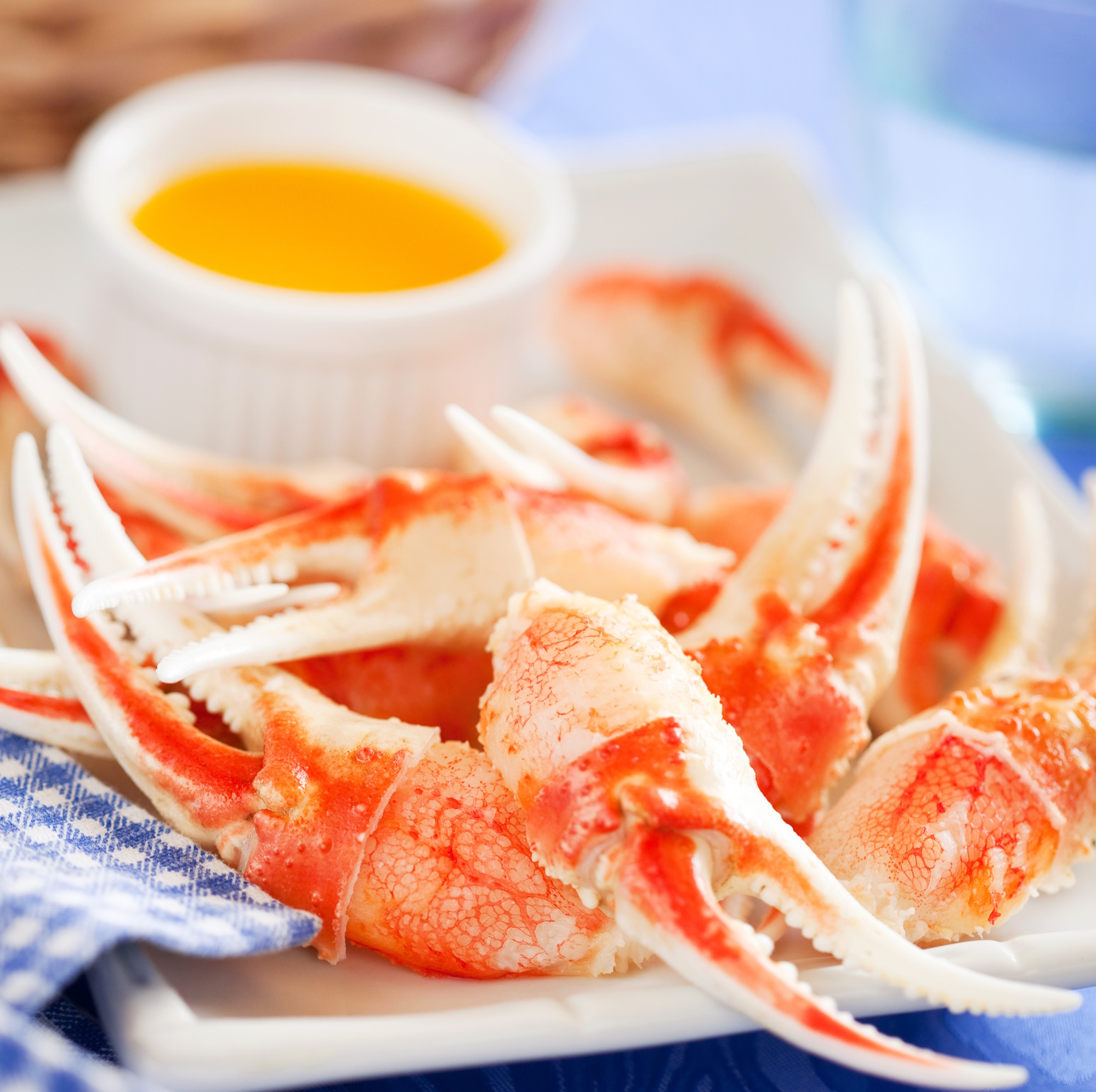 Boiled crab claws with orange sauce, sel