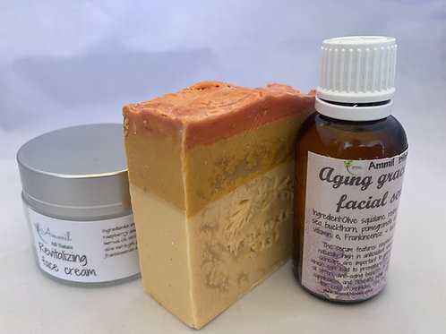 Aging graceful facial serum & Revitalizing face cream + handmade soap