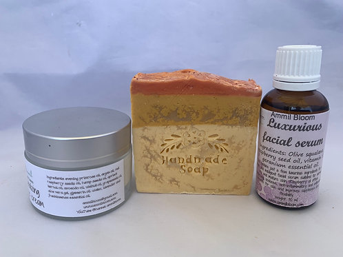 Luxurious facial serum + revitalizing face cream + handmade soap