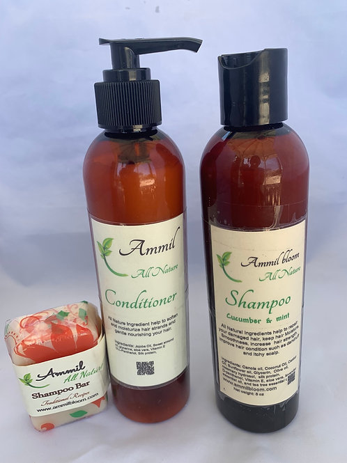 Ammil's Shampoo (cucumber + mint ) + Conditioner + Shampoo bar