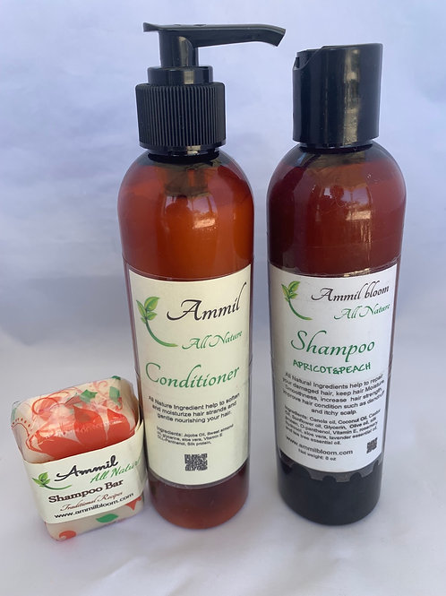 Ammil's Shampoo ( apricot & peach ) + Conditioner + Shampoo Bar