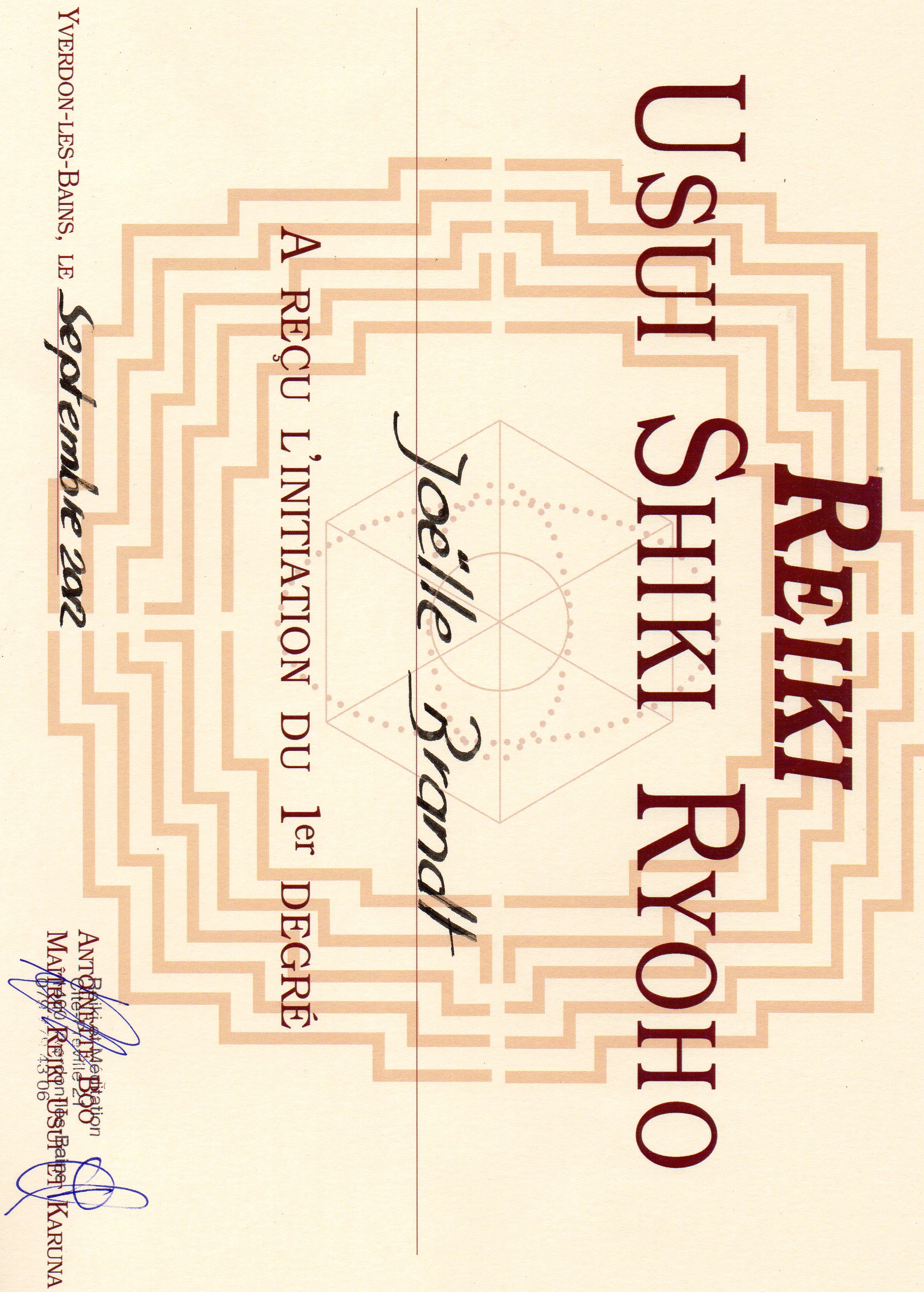 Reiki Usui 1er degré