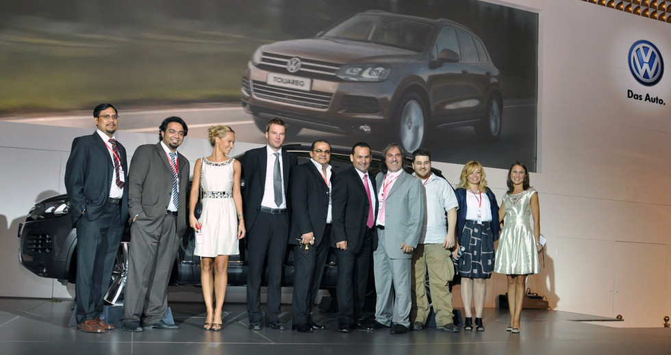 Kuwait: Louai Alasfahani and Paragon team members (Diana, Vako, Gaya, Nizar, Wassim, Naser) and VW GM Mr. Abdalla, on stage on the launch of the all new VW Touareg event organized by Paragon International