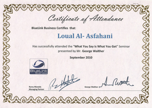 Attendance Certificate-what you say is w