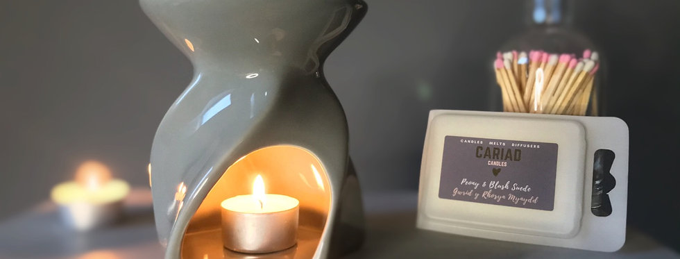 Leon Ceramic Wax Burner ~ Gloss Grey