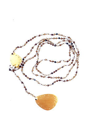 HANDMADE NECKLACE - BEIGE AND BROWN