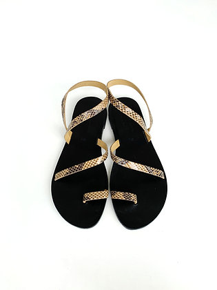 YARDEN SANDALS  BLACK AND FAUX SNAKE - SUMMER 2020