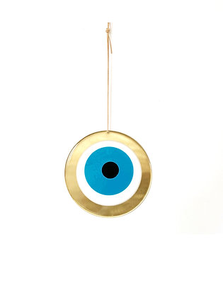 LARGE ROUND GOLD EYE - SEA BLUE