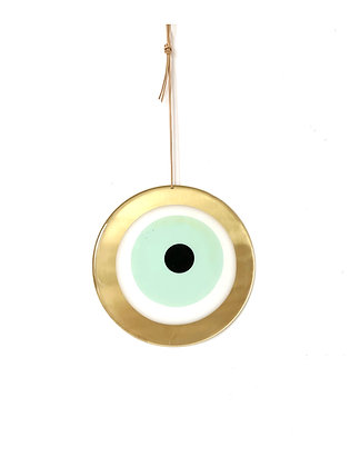 LARGE ROUND GOLD EYE - LIGHT GREEN