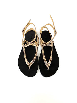 AYELET SANDALS BLACK, FAUX SNAKE - SUMMER 2020