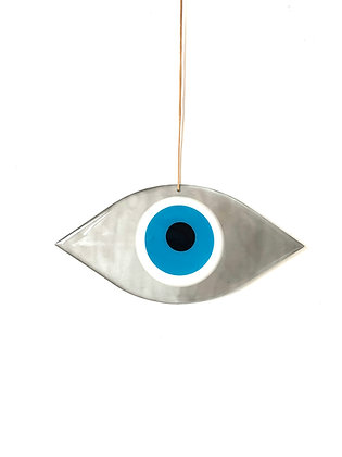 LARGE EYE SILVER SHAPED - SEA BLUE