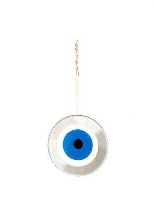LARGE ROUND SILVER EYE - DEEP BLUE
