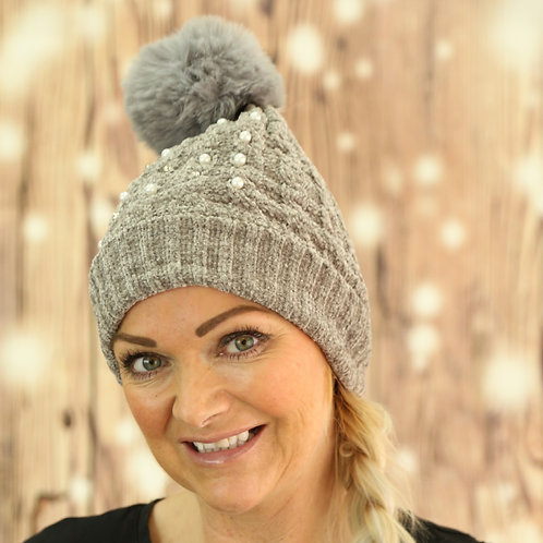 Chenille Pearl Detail Hat